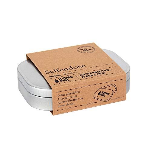 Milieuvriendelijke zeepdoos van blik, 100% plasticvrij, van recyclebaar materiaal, voor alle gangbare maten vaste zeep