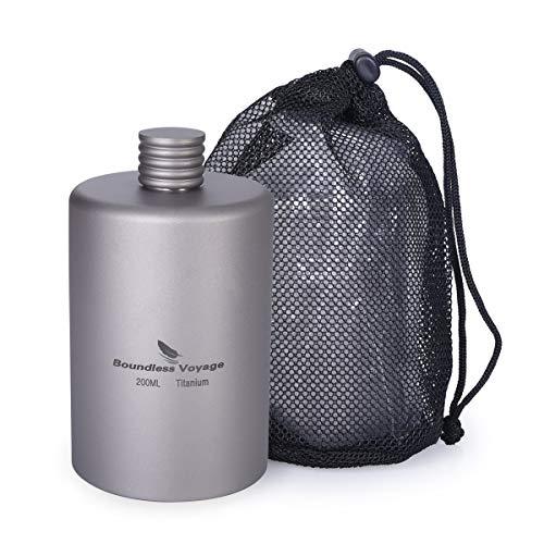 iBasingo Ti3068D Titanium tas, flagon, camping, flagon, draagbare alcohol, drinkfles, sport, outdoor, wandelen, wijnfles, 200 ml