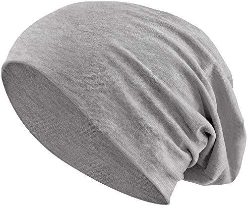 Balinco® Beanie muts voor heren en dames (uniseks) van jersey katoen, flexibele slouch Hat in 30, perfect voor de lente, herfst en winter, 100% katoenen muts, Heather Grey, Eén maat