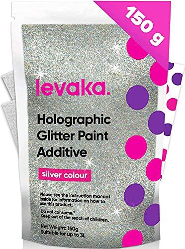 Levaka 150 gram holografische glitter voor je glitterbehang - 2 polijstpads inclusief - Dei-ne glitter muurverf compatibel met elke schilderverf - muur glitter voor buitenwanden en hout
