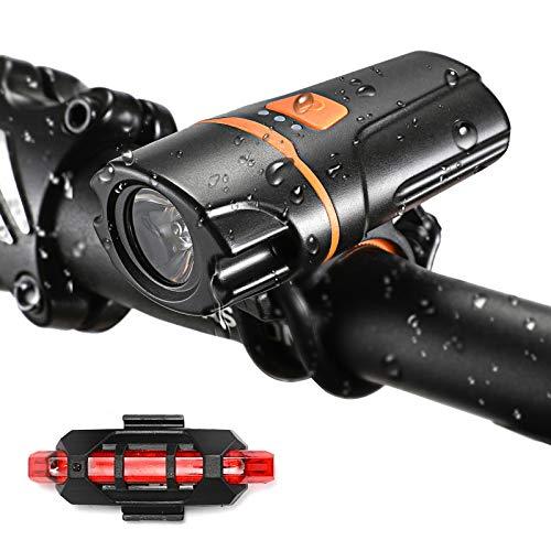 VICKSONGS Krachtige USB Oplaadbare Fietsverlichting Voor, set Koplampen met Achterlicht voor Fiets [10 uur / 7 modi] IPX6 LED-weg- en Mountainbike - Nachtveiligheid