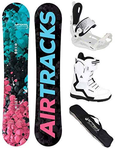 Airtracks Dames Snowboard Set - Board Polygonal 144 - Softbinding Master - Softboots Strong W QL 37 - SB Bag