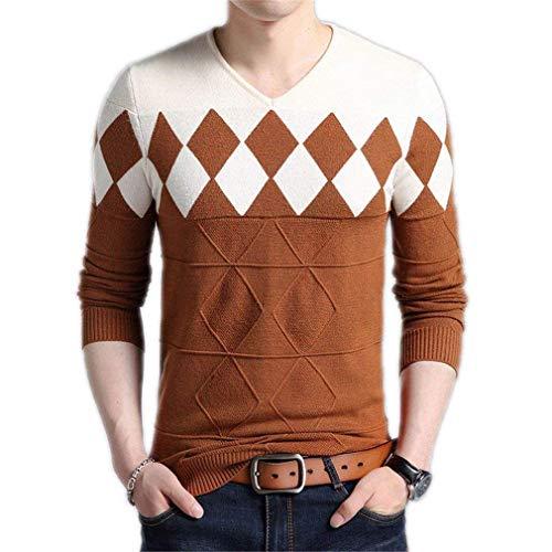 HaiDean Cashmere wollen trui mannen winter slim nner herfst fit moderne casual trui mannen Nner Argyle patroon V-hals pull homme kerst pullover