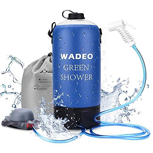 Campingdouche, WADEO Draagbare Buitendouche met Waterpomp, 11 Liter Outdoor Draagbare Druk Kamp Douche, Perfect voor Camping, Tuin, Reizen, Honden