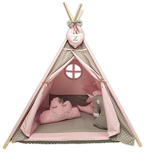 Kindertheepee tipi set voor kinderen speelgoed binnen buiten speeltent tipi set indianentipi met venster enz. Tipi met en zonder accessoires verkrijgbaar (tipi met elementen, roze maan)