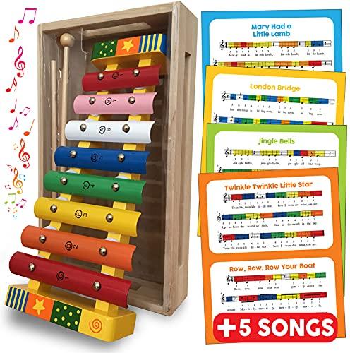 Xylofoon Glockenspiel Muziekinstrument - Houten Speelgoed Percussie Xylofoon voor Kinderen Speelgoed Cadeau voor Peuters met GRATIS SONG SHEETS, HOUTEN OPSLAGE BOX en TWEE HOUTEN MALLETS - Xylofoon Baby Muziekkoel voor 18 maanden + 2 3 4 5 jaar oude jongens meisjes houten speelgoed