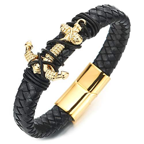 Coolsteelandbeyond Heren Dames Heren Goud Staal Nautische Marine Touw Anker Zwart Gevlochten Lederen Bangle Polsband Armband