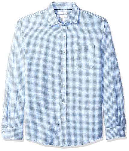 Amazon Essentials Regelmatige pasvorm geruite linnen overhemd met lange mouwen, blauwe Gingham, US L (EU L)