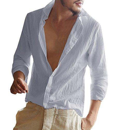 Gemijacka Linnen herenhemd met lange mouwen, zomerhemd voor heren, regular fit, vrijetijdshemd
