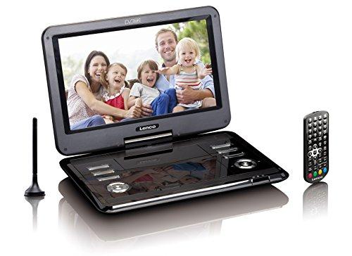 Lenco DVP-1273 Draagbare dvd-speler DVP - DVB-T2-ontvanger - 12 inch dvd-speler met tv - DVB-T2-tuner - geïntegreerde li-ion-accu - 12 volt auto-adapter - antenne - afstandsbediening - zwart, DVP-1273