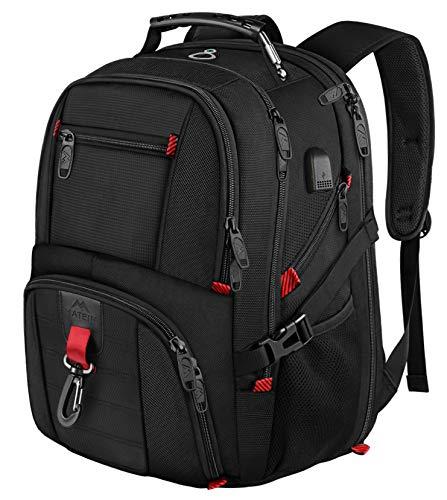 MANCRO Laptop Rugzak, Grote Zakelijke Waterbestendig Reizen Rugzak met USB Opladen Poort Past Meest 17.3 Laptop en Notebook, Zwart