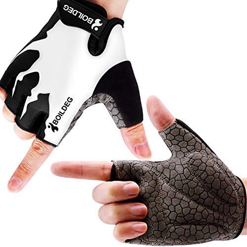 Boildeg Fietshandschoenen Fietshandschoenen Weg Mountainbike Handschoenen Antislip Schokabsorberende Pad Ademende Halve Vinger Fiets Handschoenen voor Heren & Dames (White, L)