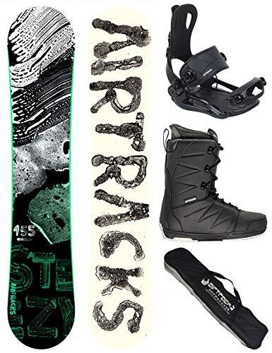 Airtracks snowboard complete set - STEEZY snowboard HYBRID Rocker TWINTIP Wide + BINTIP Master FASTEC + Boots + SB Bag - 145 150 155 160 cm