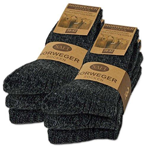 6 paar noorse sokken met wol in zwart grijs of antraciet wintersokken herensokken - sockenkauf24 (43-46, 6 paar   Antraciet)