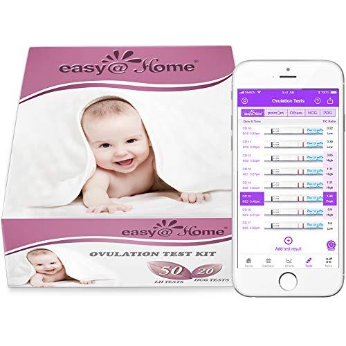Easy@Home 50 x Ovulatietesten en 20 x Zwangerschapstesten, Met Premom Ovulatie Predictor iOS en Android App, 50 LH +20 HCG