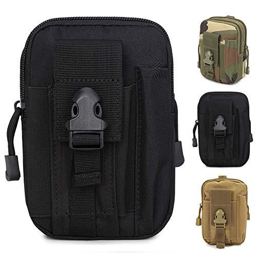 ZhaoCo Tactische heuptassen, nylon militair compact Molle-EDC-tas, riemtas, tasje, tailletas voor gadget-dienstprogramma mobiele telefoon camping, wandelen en reizen, zwart
