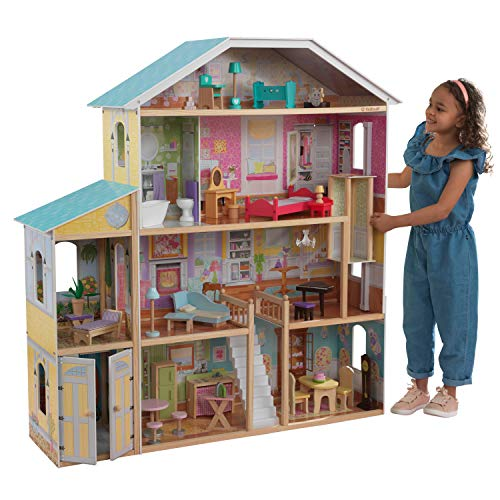KidKraft 65252 Majestic Mansion, houten poppenhuis inclusief meubilair en accessoires, 4 verdiepingen hoge speelset voor poppen van 30 cm/12 inch