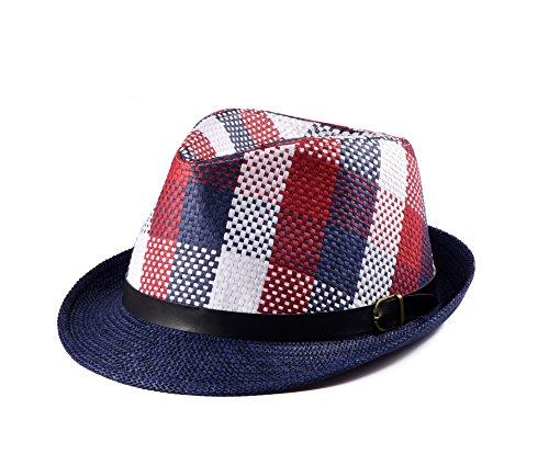 Miuno® Unisex Trilby hoed heren dames partyhoed stroh hoed H51001 (marineblauw)