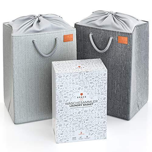 SpaceFox set van 2 wasmanden - Vouwbaar & vrijstaand - Wasmand met afdekking - Grote wasmanden - elk 69 liter - XL waszak - Laundry Baskets voor het scheiden van vuile was – Grijs