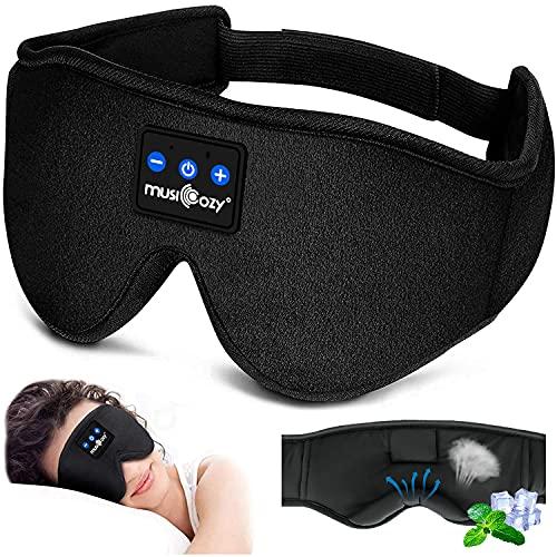 LC-dolida Slaaphoofdtelefoon, bluetooth, slaapmasker, muziek, oogmasker, lichtblokkerende slaapbril met draadloze 5.0 headset, zacht en comfortabel voor dutjes, slapen, yoga en reizen, wasbaar