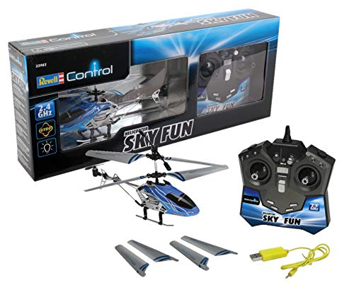 Revell Control RC helikopter, op afstand bedienbare helikopter voor beginners, 2,4 GHz afstandsbediening, eenvoudig te vliegen, gyro, stabiel chassis, LED-verlichting, USB-oplader - SKY FUN 23982