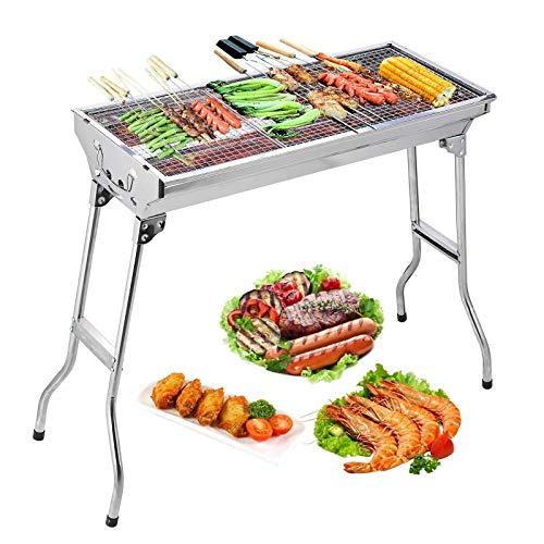 Uten Roestvrijstalen barbecue, houtskoolgrill, rookoven, barbecue, inklapbaar, draagbaar, voor outdoor, koken, camping, wandelen, picknick, rugzakreizen, groot, zilver
