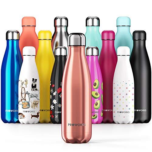 Proworks Sportwaterflessen van Roestvrijstaal | Thermosfles met Dubbele Isolatie voor 12 Uur Warme Dranken en 24 Uur Koude Dranken - BPA-vrij - 1 L - Koper
