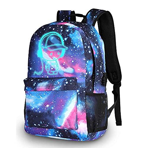 Galaxy schooltas jongensmeisjes, lichtgevende schoolrugzak met USB-oplaadpoort, anti-diefstal laptoprugzak, studentenboekentas voor tieners, computerrugzak Casual dagrugzak Travel Business College