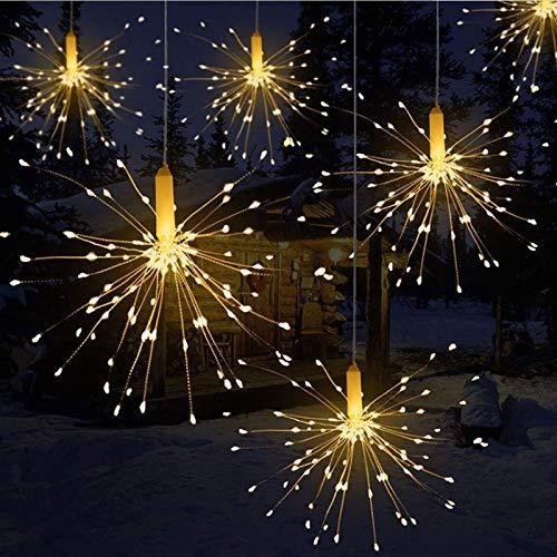 Qtiwe Led-lichtsnoer, met afstandsbediening, voor buiten, kerstverlichting op batterijen, exploderend vuurwerk, warmwit