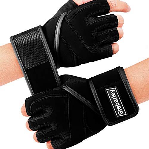 Fitnesshandschoenen, trainingshandschoenen, handschoenen met polssteun en palmbescherming, antislip, ideaal voor gewichtheffen, crossfit, bodybuilding, sporthandschoenen voor dames en heren