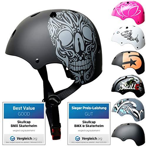 SkullCap® Skateboardhelm & Fietshelm E-Scooter & Steppen, Design: Skull – voor Kinderen, Grootte: S (53 – 55 cm) voor Kinderen