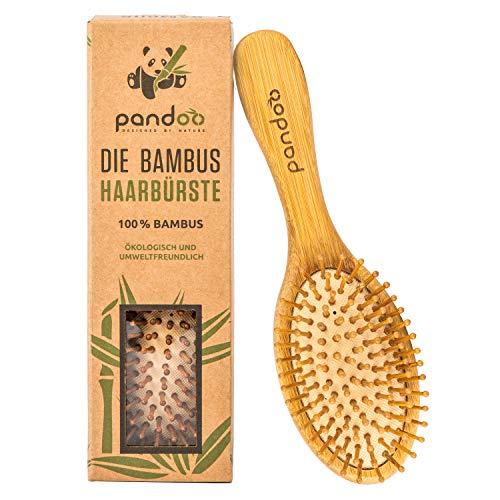 pandoo Bamboe haarborstel met natuurlijke borstelharen, veganistisch, milieuvriendelijk, natuurlijke borstel met bamboeborstelharen voor natuurlijk mooie haren voor mannen, vrouwen en kinderen