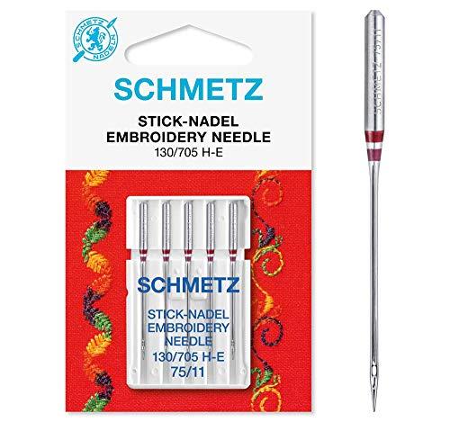 5 Stick borduurwerk 130/705, H-E Schmetz Naaimachine Naalden 75