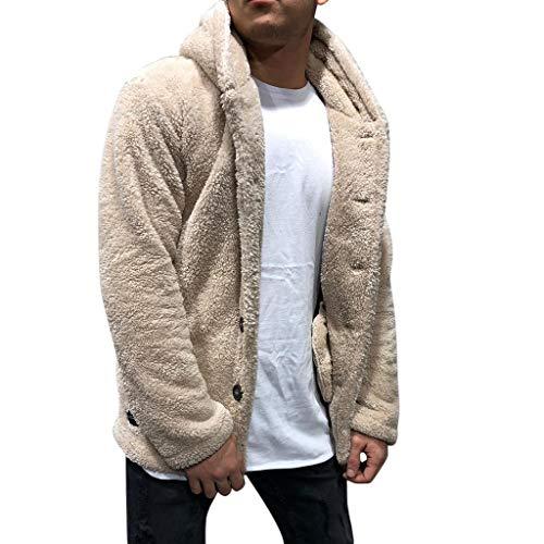 Binggong heren pluche mantel winter warm fleece mantel open front cardigan casual effen pluche jas teddy fleece capuchon pullover button down Coat M-3XL