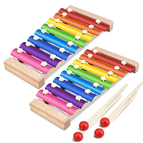 Xylofoon voor kinderen, ZUZER 2 stks houten xylofoon klokkenspel speelgoed xylofoon met hamers muziekinstrument voor baby kinderen