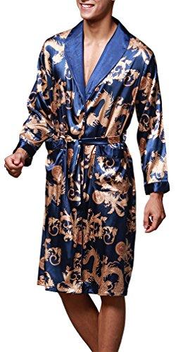 OLIPHEE mannen satijnen badjas paisley patroon Kimono ochtendjas 52,Koningsblauw