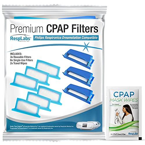 RespLabs Algemene CPAP-filters - Past op Philips Respironics DreamStation, 3 Herbruikbare en 6 Wegwerpfilters - Stoffiltering, Huidschilfers, Luchtzuivering. CPAP Machine-inlaatfiltratie