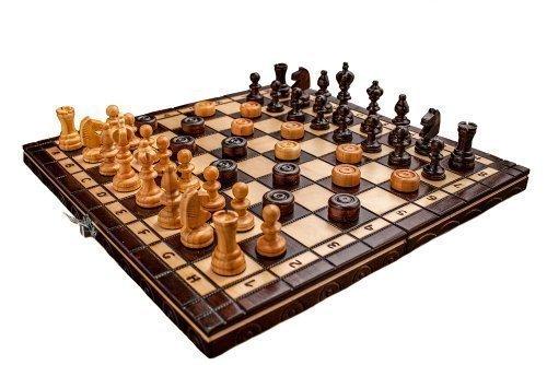 Gloednieuw handgemaakt Cherry Houten Chess And Draughts Set 35 cm x 35 cm