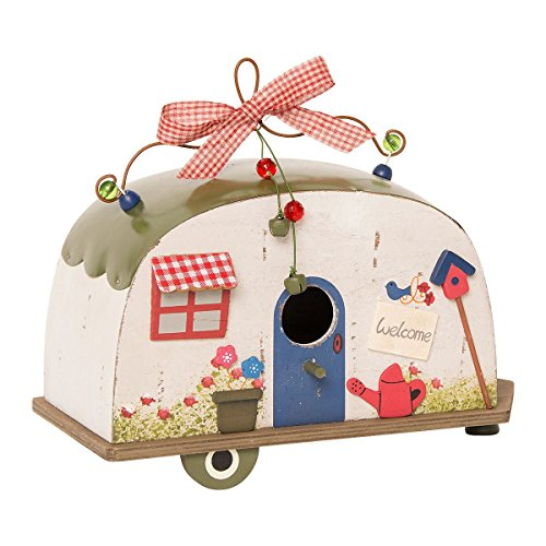 Birdhouse caravan camper voor opknoping houten tin dak