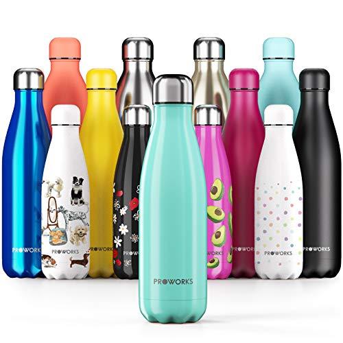 Proworks RVS Sport Waterfles   Dubbel Geïsoleerde Thermosfles voor 12 Uur Warme en 24 Uur Koude Drankjes - ideaal voor thuis, op het werk, in de Sportschool en op reis - BPA Vrij – Groen - 1L