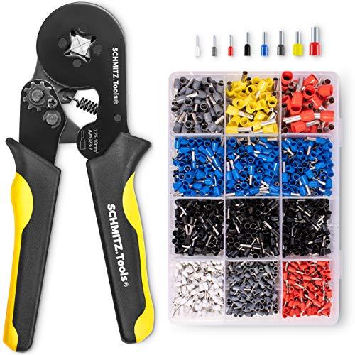 Krimptang met Adereindhulzen Set [1.800 Stuks] SCHMITZ.Tools® - Krimptang Vierkant - Zelfinstellend - Adereindhulzen - Professionele Tang- Tangenset