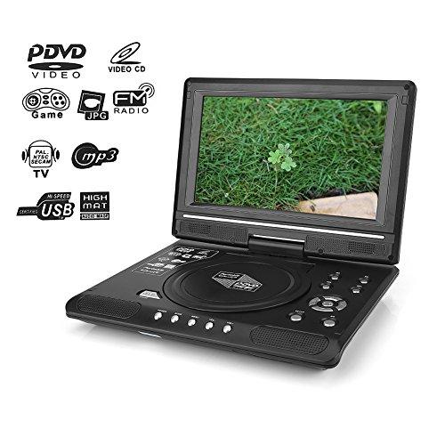 Draagbare dvd-speler, draaibaar HD-display, ondersteunt USB/SD-slot, AV Out/IN, spel-joystick, met autolader en stroomadapter (voor euro)