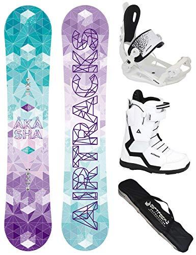 Airtracks Akasha Lady Snowboard Flat Rocker + Binding Master FASTEC + Boots + SB Bag / 144 147 150 153 / cm