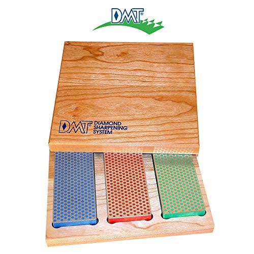 DMT Diamantslijpsteen in doos van hardhout, 15,2 cm / 6 inch, set met 3 slijpstenen in 3 korrels, W6EFC