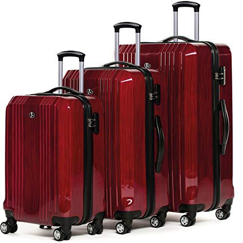 FERGÉ 3-delige koffer-set Reisbagage CANNES premium harde spinner premium bagage-koffer rood