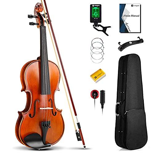 Vangoa 4/4 Viool Fiddle Full-size akoestische viool voor beginnende volwassen student met vioolkoffer, strijkstok, hars, schoudersteun, piëzo-pickup, stemapparaat, snaren