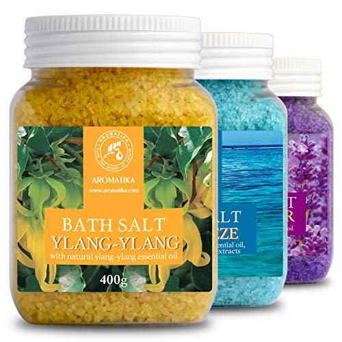 Badzout Cadeauverpakking 3x400g met Lavendel Sea Breeze en Ylang-Ylang - Zeezout Tegen Acne - Droge Huid - Spierpijn - Vermoeidheid - Huidverzorging - Anti-Stress - Bad - Jacuzzi - Wellness - Ontspanning