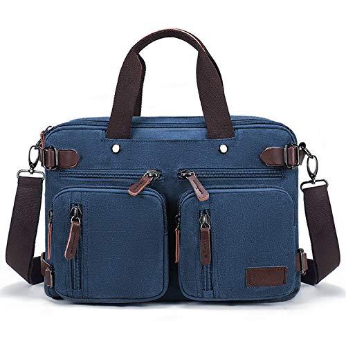 Fresion Schoudertas voor heren, laptoptas of schooltas, canvas vintage schoudertas, veranderbaar in een rugzak, 14-15,6 inch laptop, zakelijke tas voor werk, kantoor, 14 inch, pu-leer, blauw (blauw) - K8691