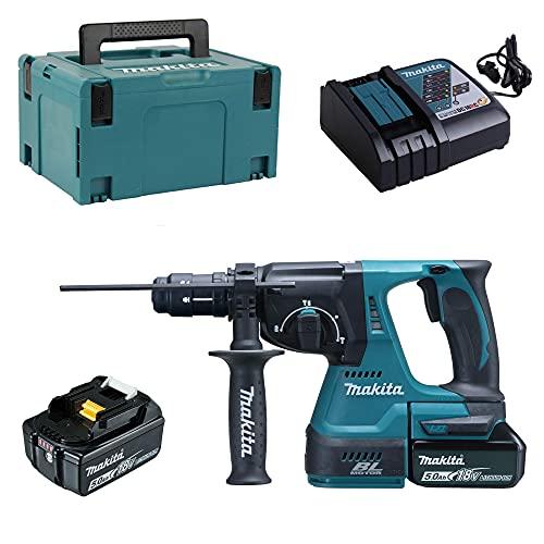 Makita DHR243RTJ Accu-combihamer voor SDS-Plus 18 V, 5,0 Ah in Makpac, Inclusief 2 Accu's en Oplader