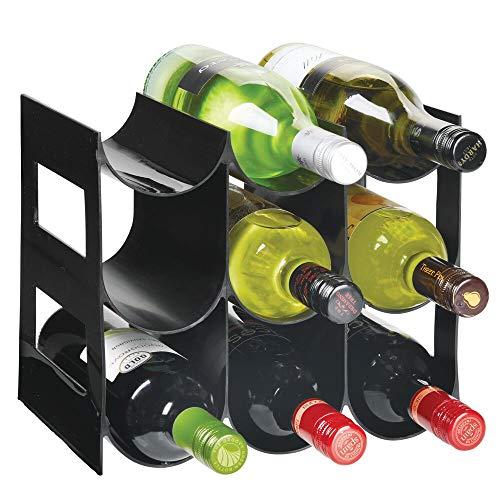 mDesign - Flessenrek - wijnrek - waterflessen/wijnflessen - met 3 etages en 9 houders - voor aanrechten, voorraadkasten en koelkasten - zwart